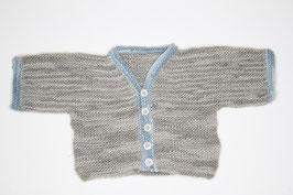 Babyjäckchen Merinowolle grau/blau