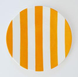 ASSIETTE DESSERT rayures jaunes/orangées