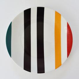 ASSIETTE DESSERT rayures asymétriques et multicolores