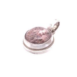Kettenanhänger Silber mit rundem Stein Phantomquarz Cabochon nude ton Gr. L | Art. 9112