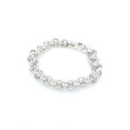 Handgeschmiedetes Silberarmband   9 mm ø   rund und flach im Wechsel Art. 9878