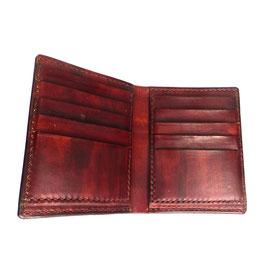 LEDERPORTEMONNAIE braun | handgenäht 13 x 10,5 cm | nur Karten + Scheine | Art. 9436