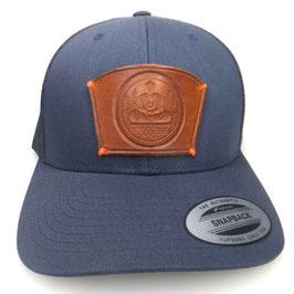 Cap Snapback blau mit Leder patch Buddha Art.9030