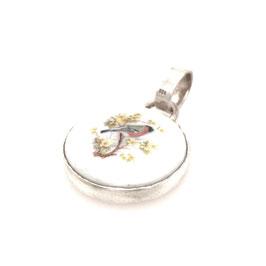 Kettenanhänger Silber | Porzellan mit Vogel Rückseite Blume des Lebens Art. 9592