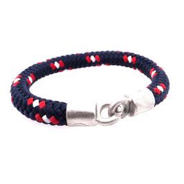 Armband Kletterseil | Tampen dunkelblau rot weiß mit Silberverschluss Art. 8970