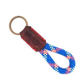 Schlüsselanhänger Kletterseil blau signalrot lindgrün Leder