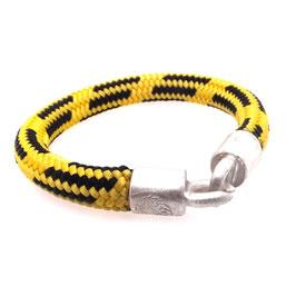 Armband Kletterseil | Tampen gelb schwarz mit Silberverschluss Art. 8973