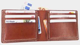 Brieftasche für Karten & Scheine  cognacfarbenes Leder Art. 9638