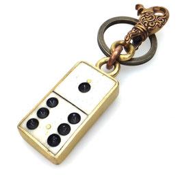 Schlüsselanhänger upcycling | Dominostein Bronzekarabiner Art. 9770