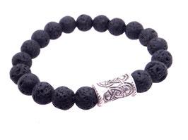 Armband Vulkangestein schwarz Kugel Silber Art. 8871