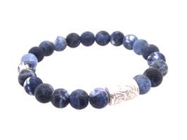 Armband Naturstein Sodalith blau Kugel  8 mm Silber Art. 9244