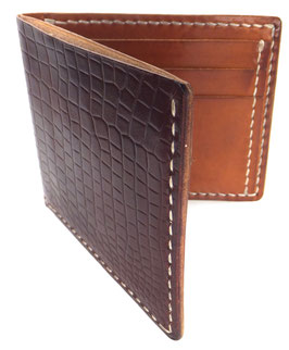 Brieftasche für Karten & Scheine  Krokoprägung rotbraun Art. 9643
