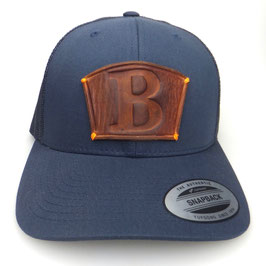 "Cap Snapback blau mit Leder patch Initial ""B"" Art.9029"