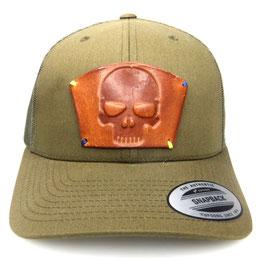 Cap Snapback grün mit Leder patch totenkopf Art.9021
