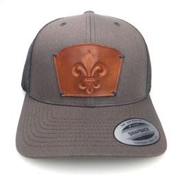 Cap Snapback grau mit Leder patch Lilie Art.9026