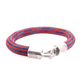 Armband Kletterseil | Tampen rot hellblau mit Silberverschluss Art. 8972