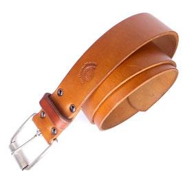 Ledergürtel 4 cm cognacfarben natur Messingschließe versilbert matt Art. N° 8891
