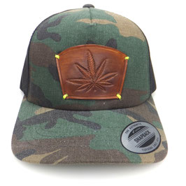 "Cap Snapback military mit Leder patch ""Blatt"" Art.9027"