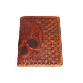 LEDERPORTEMONNAIE braun | Skull | von Hand punziertes Unikat Art. 9349  handgenäht 13 x 10,5 cm | 5 Karten | Scheine + Münzfach | Art. 9349