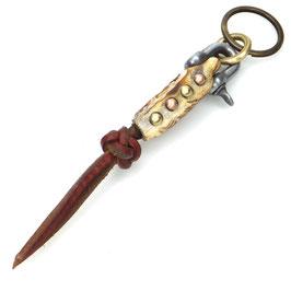 Schlüsselanhänger Hirschhorn mit Handgravur | Stahlschäkel | Messing | Kupfer | Leder Art.  9768