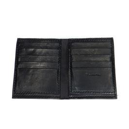 LEDERPORTEMONNAIE schwarz | handgenäht 13 x 10,5 cm | nur Karten + Scheine | Art. 9432