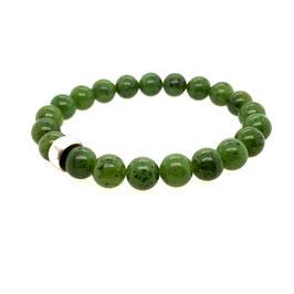Armband kanadische Jade Kugel oliv grün | 925Ag  Art. 9667