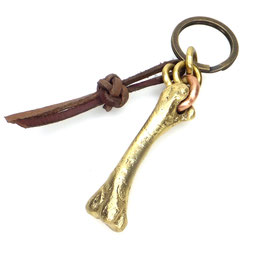 Schlüsselanhänger Knochenskulptur | massiv Messing | Lederband Art. 9774