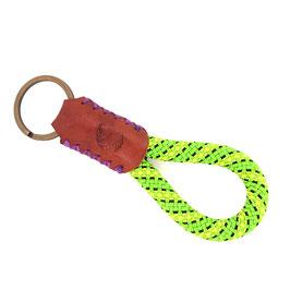 Schlüsselanhänger Kletterseil grün gelb schwarz Leder