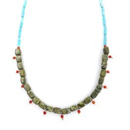 Collier Amazonit, Serpentin, Koralle, Achat | 60 cm | Unikat Art. 9857