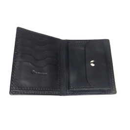 LEDERPORTEMONNAIE schwarz handgenäht 13 x 10,5 cm | 5 Karten | Scheine + Münzfach | Art. 9434