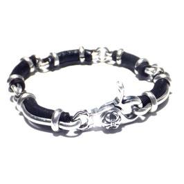 Silberarmband mit Lederelementen Art. N° 7307