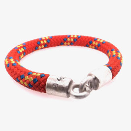Armband Kletterseil | Tampen rot blau gelb mit Silberverschluss Art. 8974