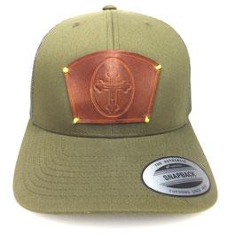 Cap Snapback grün mit Leder patch Kreuz Art.9023