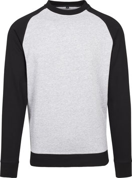 RAGLAN CREWNECK HEATHER GREY/BLACK