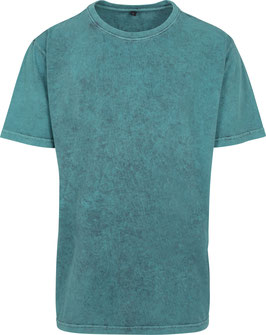 T-SHIRT ACID WASHED TEAL BLACK