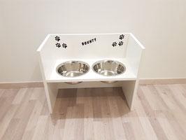 Futterbar Hund, 2 x 2400 ml, weiß, unten offen - inkl. Deko + Wunschnamen-