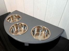 Futterbar Hund, 3 x 750 ml, grau, halbrund