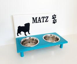 Futterbar Hund, 2 x 750 ml, 2 Farbig, verschiedene Dekoration -auch mit Wunschnamen-