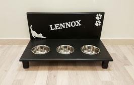 Futterbar Katze, 3 x 350 ml, schwarz -inkl. Deko und Namen-