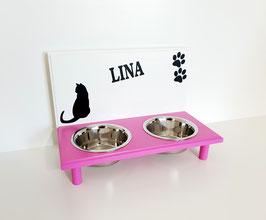 Futterbar Katze, 2 x 350 ml, 2 Farbig, verschiedene Dekoration -auch mit Wunschnamen-