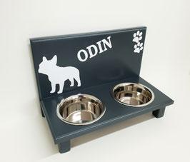 Futterbar Hund, 2 x 750 ml, anthrazit, Franz. Bulldogge, -Inkl. Deko / Schriftzug-
