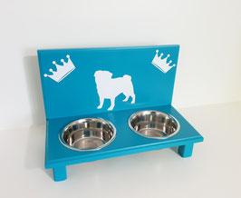 Futterbar Hund, 2 x 750 ml, türkis,  2 x Krone + Mops oder Fr. Bulldogge
