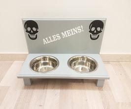 Futterbar Hund, 2 x 750 ml, Lichtgrau, 2 x Totenkopf schwarz + ALLES MEINS!