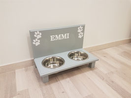Futterbar Hund, 2 x 750 ml, lichtgrau -Inkl. 4 Pfoten und Wunschnamen weiß- klein Hund