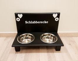 Futterbar Hund, 2 x 750 ml, schwarz, Herz + Blume + Schlabberecke