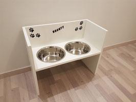 Futterbar Hund, 2 x 1500 ml, weiß, unten offen -Inkl. Deko und Namen-
