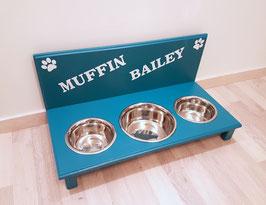 Futterbar Hund, 1 x 1500 ml (Mitte) 2 x 750 ml außen, türkis  -2x Pfoten + Wunschnamen-
