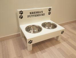 Futterbar Hund, 2 x 1500 ml, weiß - 6 x Pfote + Namen -
