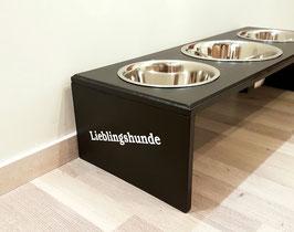 Futterbar Hund, 1 x 2400 ml (Mitte) 2 x 1500 ml außen, schwarz -inkl. Namen/ Bezeichnung-