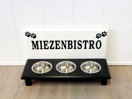 Futterbar Katze, 3 x 350 ml, weiß/schwarz  -inkl. Deko und Namen-